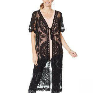 NWT Nina Leonard Mesh Kimono Plus 1X Black